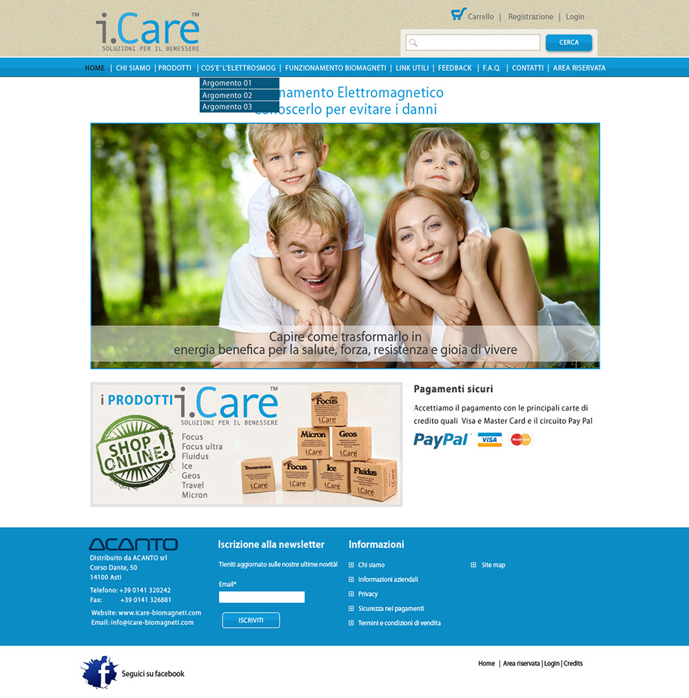 Studio grafico home page sito web I-Care Biomagneti.