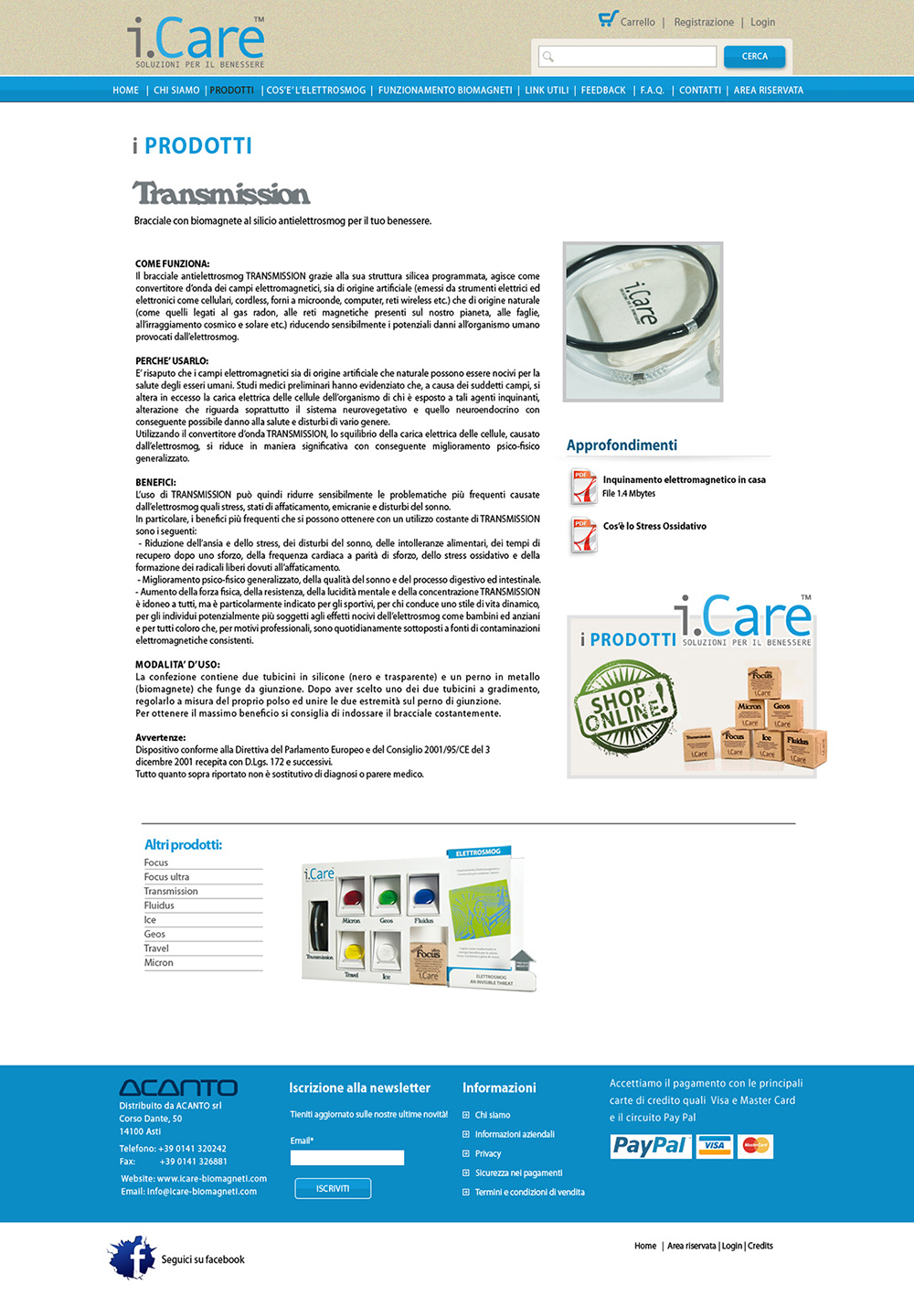 Studio grafico sito web I-Care Biomagneti