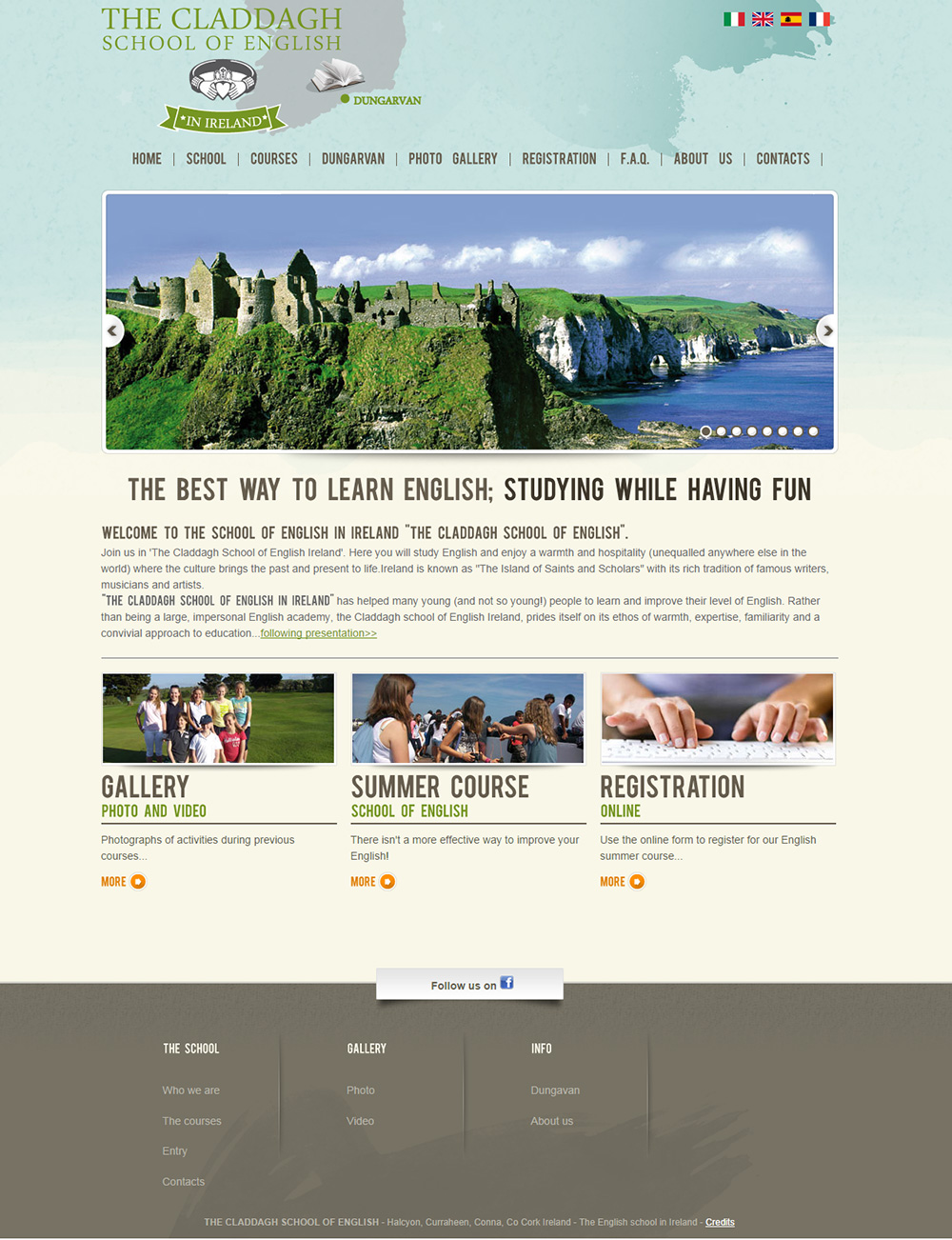 Studio e realizzazione sito web The Claddagh the school of english in Ireland